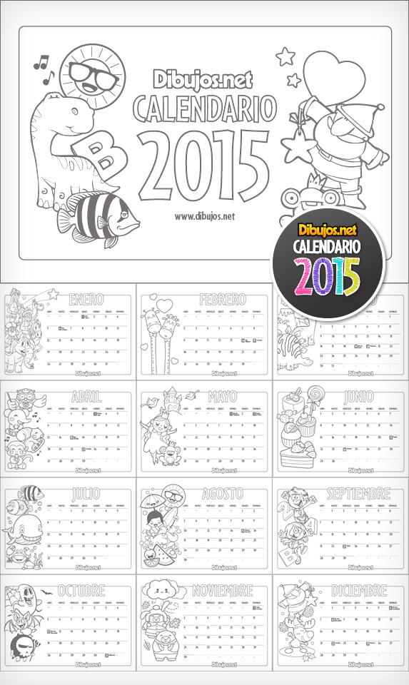 Calendario 2015 para colorear - Dibujos.net