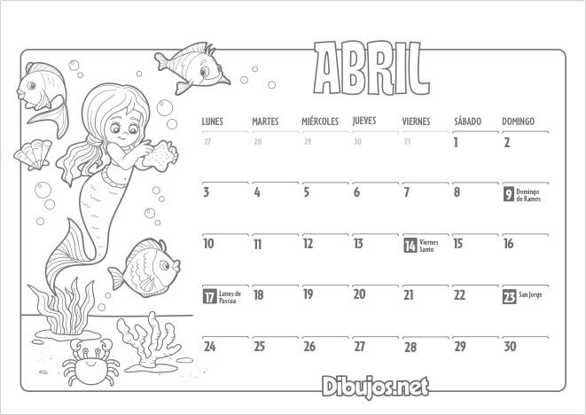 Calendario Infantil 2017 para imprimir y Colorear - Dibujos.net