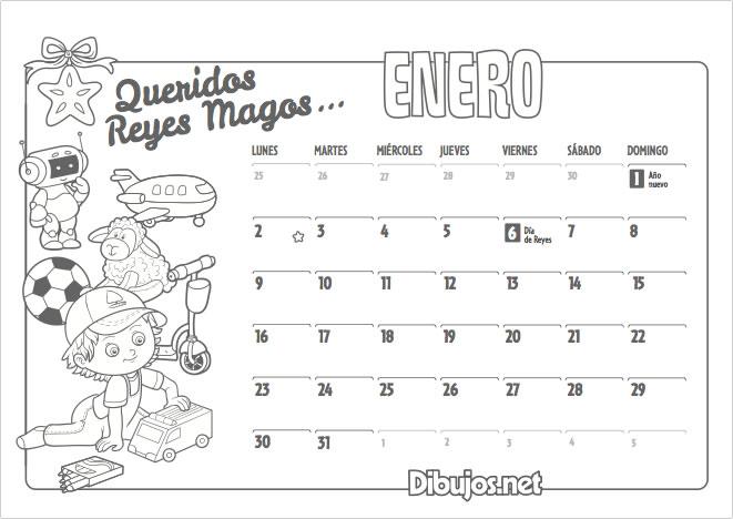 Calendario infantil 2017 para imprimir y colorear - Calendario 2017 para imprimir por meses ...