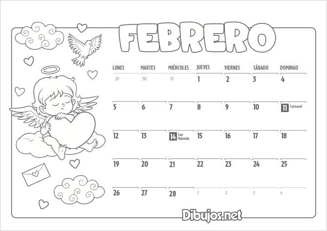 Calendario Infantil 2018 para Imprimir y Colorear - Dibujos.net