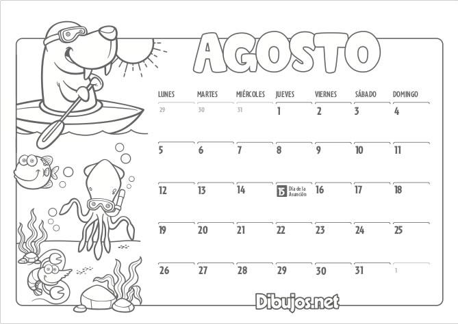 Calendario Julio 2019 Para Imprimir.Calendario Infantil 2019 Para Imprimir Y Colorear Dibujos Net