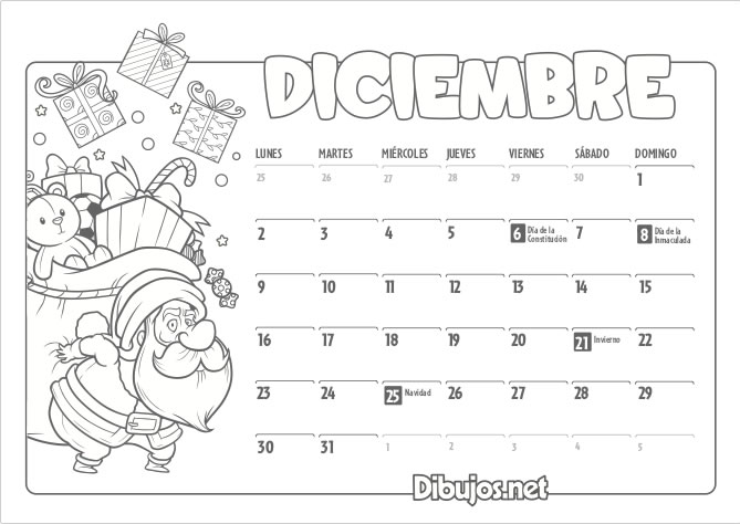 Calendario Diciembre 2019 Para Imprimir Argentina.Calendario Infantil 2019 Para Imprimir Y Colorear Dibujos Net