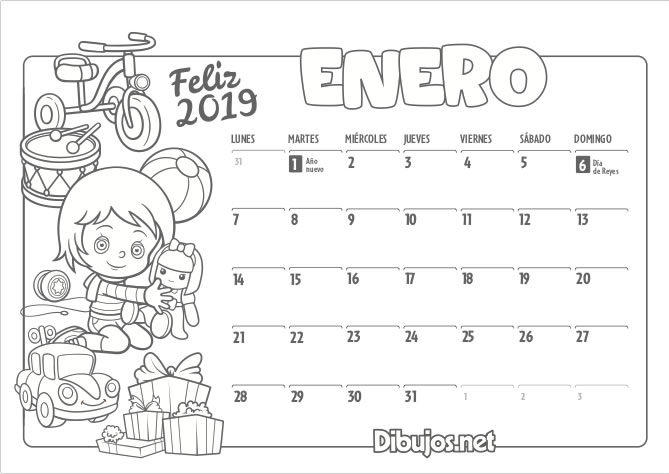 Calendario Infantil 2019 para Imprimir y Colorear - Dibujos.net