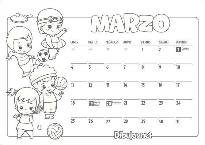 Calendario Infantil 2019 Para Imprimir Y Colorear Dibujosnet