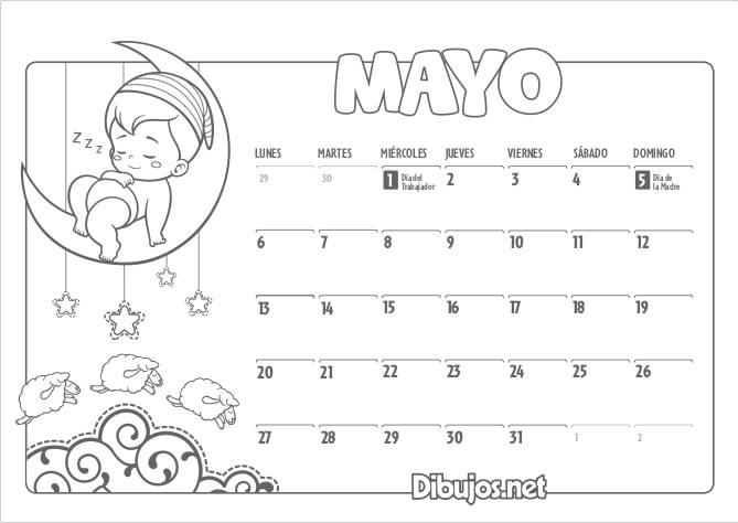 Calendario Imprimir Abril 2019.Calendario Infantil 2019 Para Imprimir Y Colorear Dibujos Net