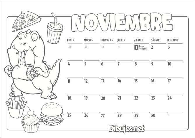 Calendario Noviembre 2019.Calendario Infantil 2019 Para Imprimir Y Colorear Dibujos Net