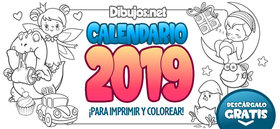 Calendario Infantil 2019 para Imprimir y Colorear