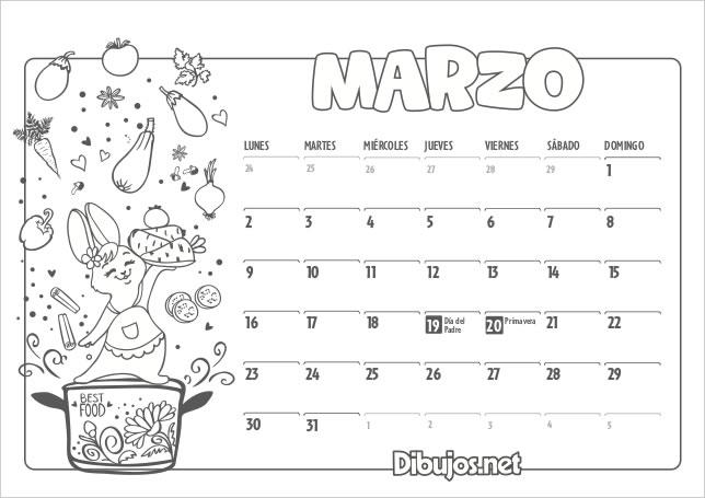 Resultado de imagen de calendario infantil marzo 2020