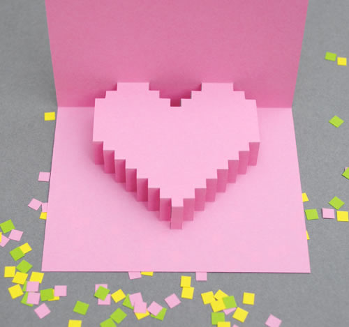 Una postal con un corazón 3D hecha por ti