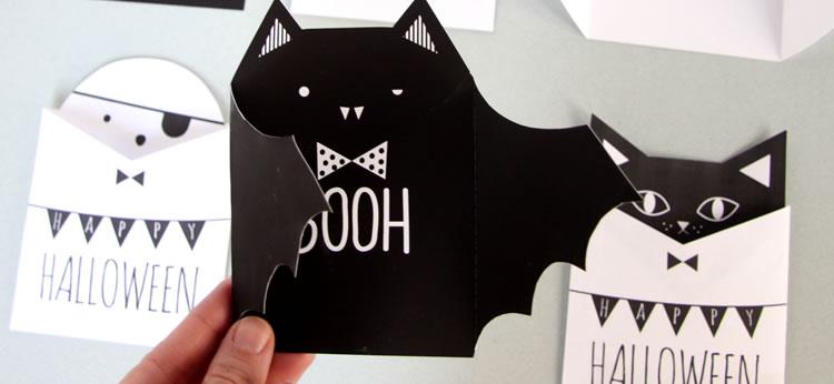3 Tarjetas de Halloween súper chulas para imprimir y colorear