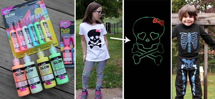Camisetas fluorescentes para Halloween DIY