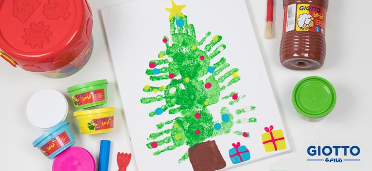 Cuadro Árbol de Navidad con pintura de dedos y plastilina
