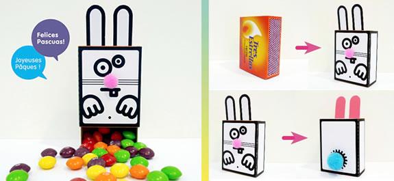 Decoramos una caja de cerillas con un conejito de Pascua