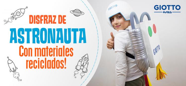 Disfraz de astronauta con materiales reciclados