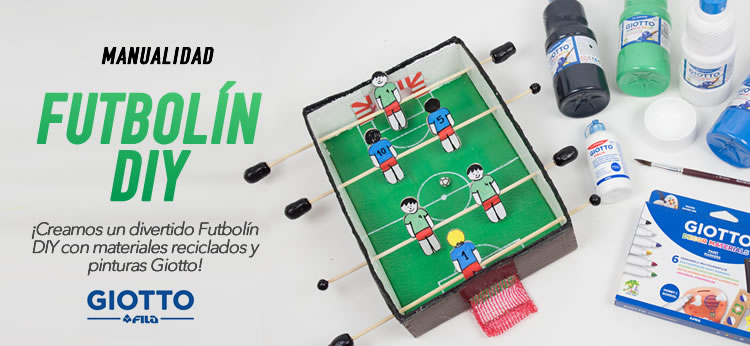 Futbolín DIY con materiales reciclados