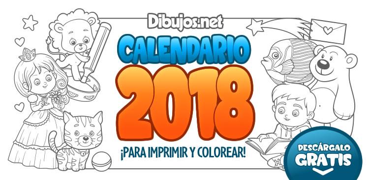 Calendario Infantil 2018 para imprimir y Colorear